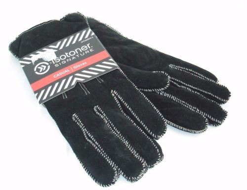 $40 New Isotoner Womens Sherpasoft Gloves with Moccasin Stitch Black XL