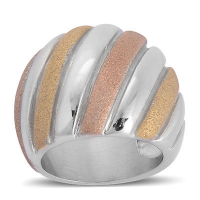 Yellow & Rose Gold Plated Ring  Stainless Steel NWB  Size 7