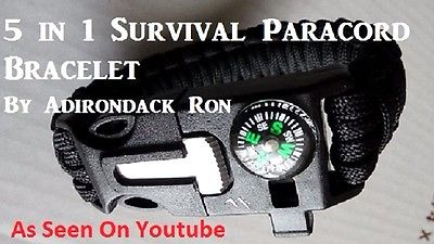 Metal detecting 5 in 1 survival bracelet by Adirondack Ron as seen on youtube.
