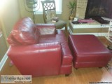 Red Leather Couch and Chair with Ottomen