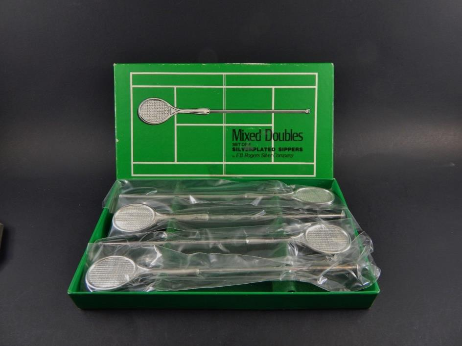 Box Set Silver Plate Mixed Doubles Tennis Racket Sipper Spoons FB Rogers Denmark