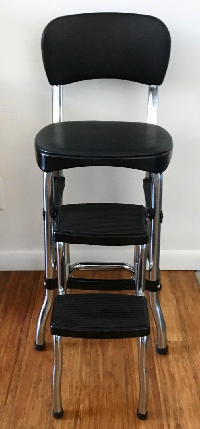 Cosco Black Retro Counter Chair Step Stool Folding Kitchen Bar Home Office Mint