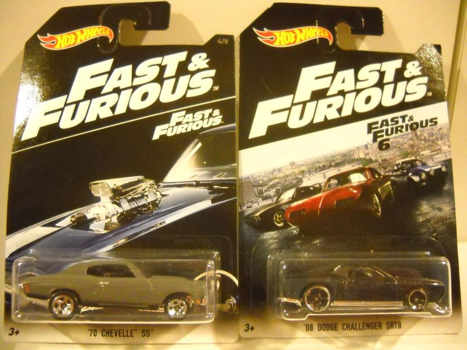 HOT WHEELS FAST & FURIOUS 70 CHEVELLE &  DODGE CHALLENGER SRT8  FREE SHIPPING