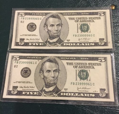 Qty 2 - $5 dollar bills 2003 A Uncirculated In Sequence