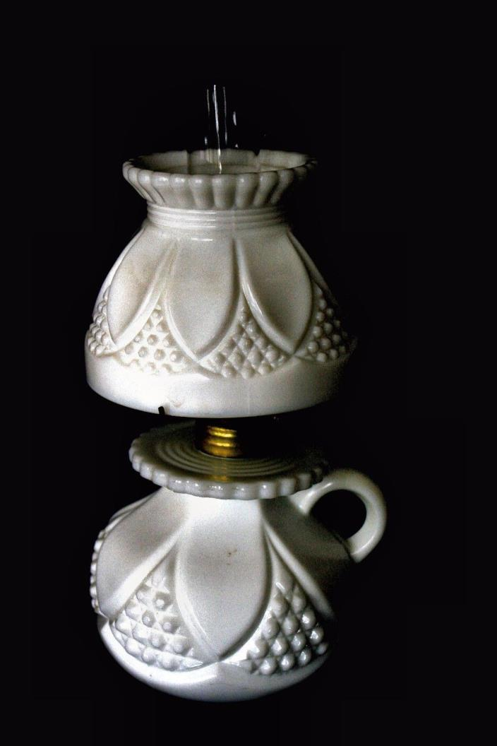 Old Miniature oil lamp Milk glass Mint condition