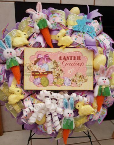 Easter Greetings deco mesh ribbon wreath