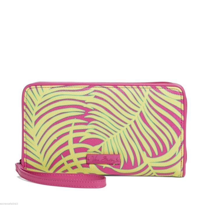 Women's Vera Bradley Palm Fronds Large Zip-Around Wristlet Wallet  Nwts