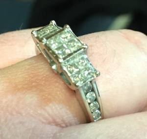 Platinum diamond encrusted engagement ring. (Boise, Idaho)