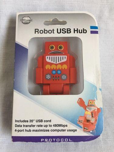 Funky Retro Robot Style 4 Port USB Hub - Portable Pocket Gadget