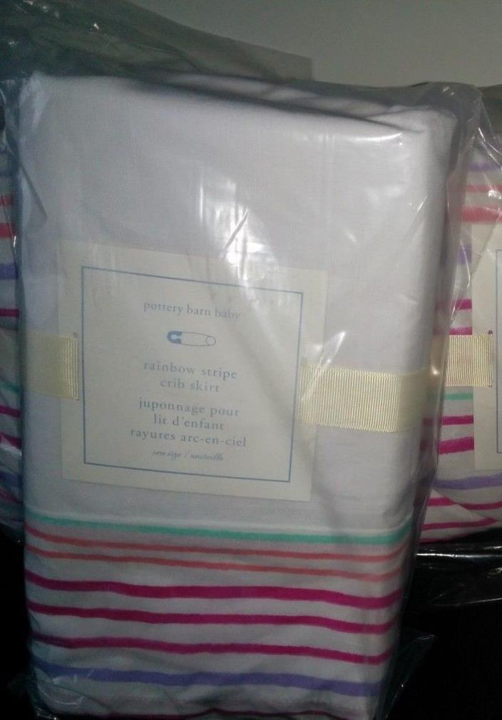 NWT 2P Pottery Barn Baby RAINBOW Crib Bumper and Bed Skirt Pink Multi Sold Out
