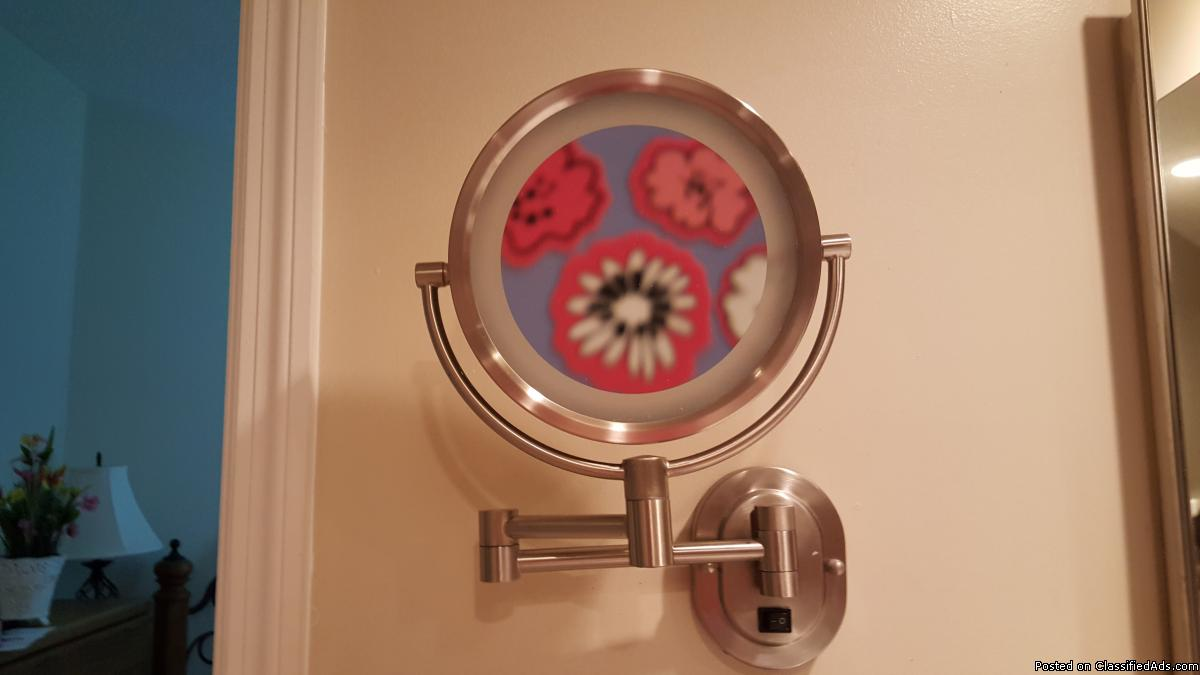 Lighted make-up mirror - wall mounted