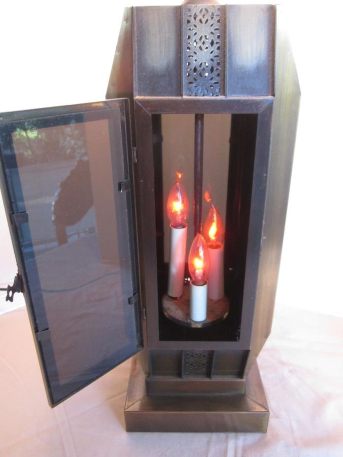 LARGE METAL 3 FLAME BULB LANTERN STYLE TABLE LAMP  - Top & Bottom Lights Up