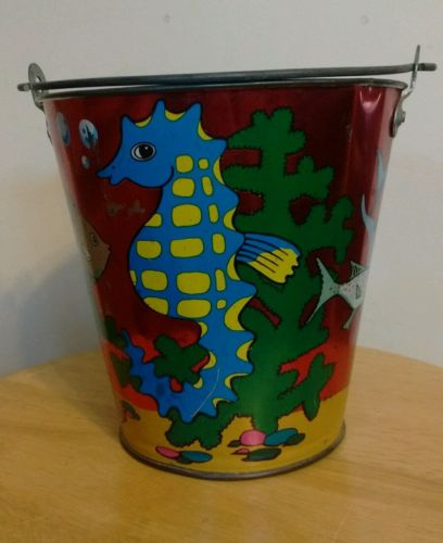 Old Antique Ohio Art Metal Tin Litho Sand Pail Fish Seahorse Sea Shell's