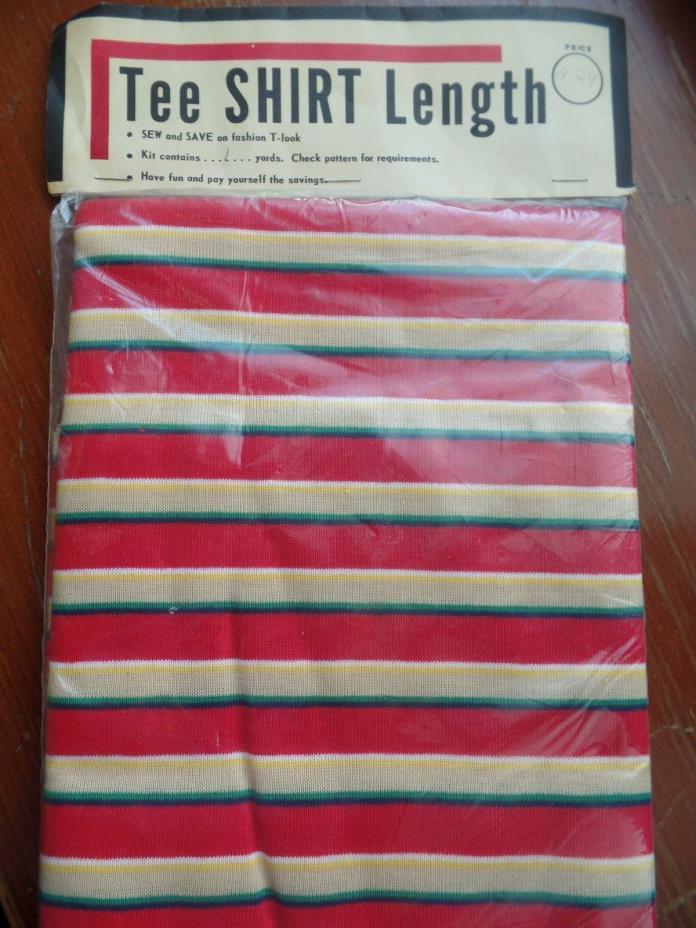 Vtg JERSEY KNIT Fabric 1970's Era, T-SHIRT Length, Red Stripe, 1 Yard, Unopened