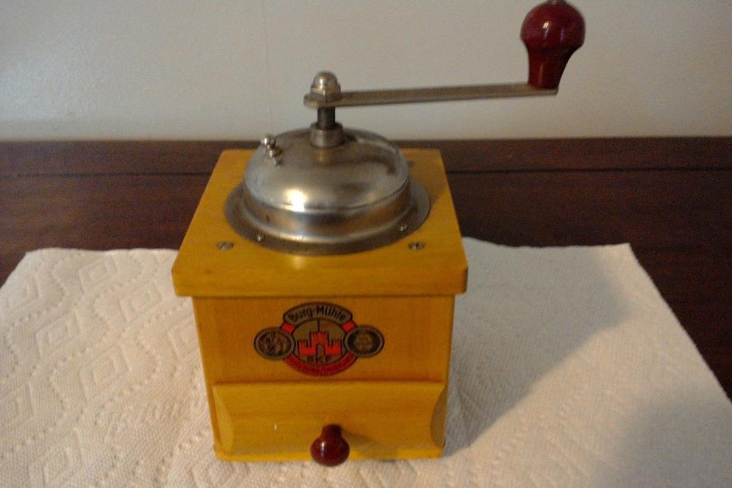 VINTAGE BKF BURG-MUHLE WOODEN RED HANDLED COFFEE MILL/GRINDER