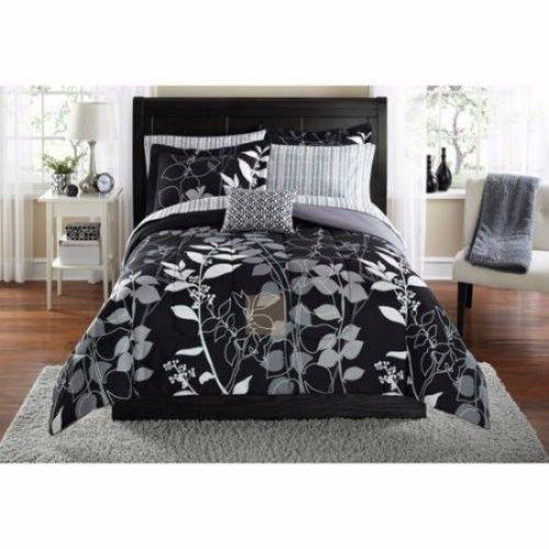 Mainstays Orkasi Leaf & Vine 8 Pc Black & White Queen Bed In A Bag Set Bedroom