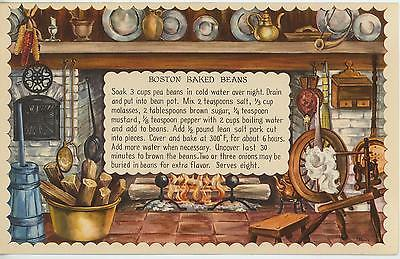 VINTAGE SPINNING WHEEL BOSTON BAKED BEANS RECIPE PRINT 1 CHRISTMAS VILLAGE CARD