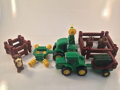 FARM Lot JOHNNY TRACTOR John Deere Toys Farmer Horses Hay Plow ERTL Playset