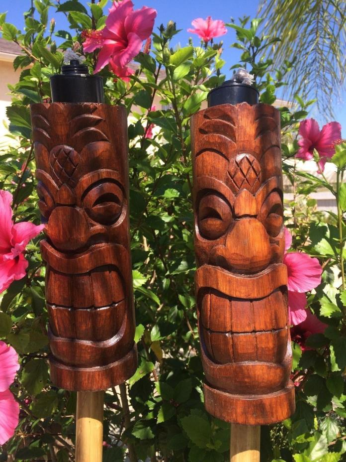 NEW Pineapple Head Tiki torch set bar mug Smokin Tikis Hawaii Seconds 225fx
