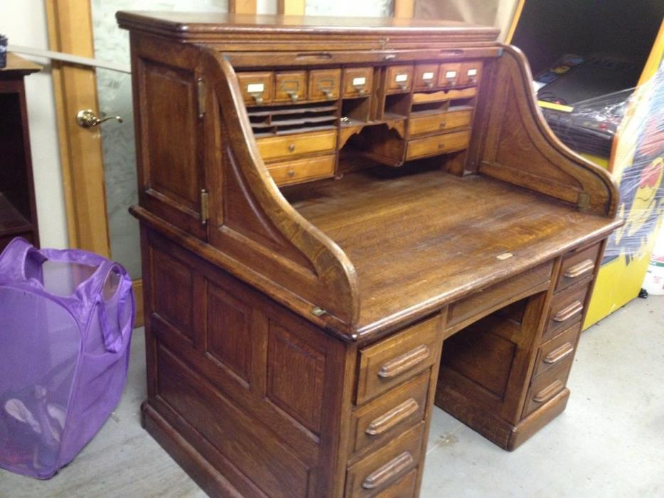 Antique Type S Oak Roll Top Desk