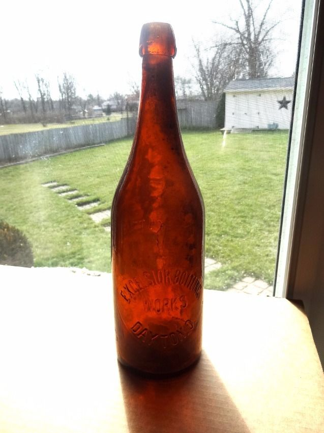 DAYTON,OHIO EXCELSIOR BOTTLING WORKS APPLIED BLOB TOP AMBER QT BEER BOTTLE