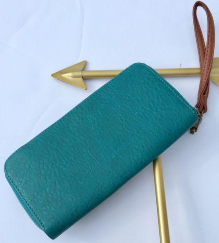 TARGET Women's Teal Green Leather Wristlet Zip Around Large Wallet