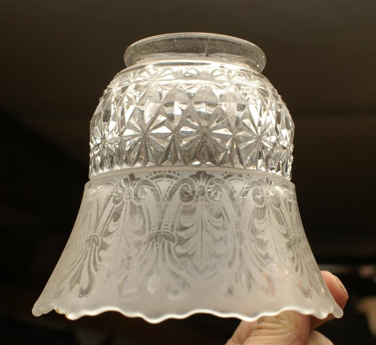 Pressed & Etched Electric Shade for gas fixtures chandelier light lamp