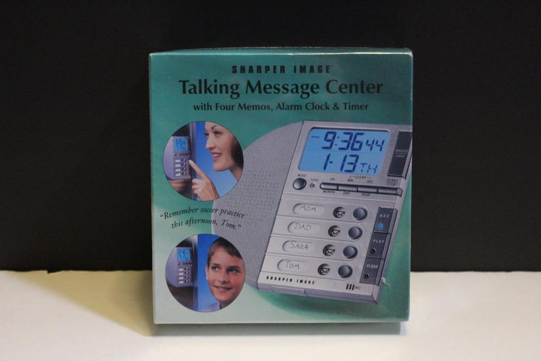 SHARPER IMAGE Talking Message Center w/ 4 Memos, Alarm Clock & Timer NEW SEALED