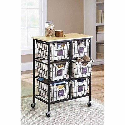 Wire Basket Cabinet Cart Kitchen Craft Office Laundry Room Decor Rolling Wheel