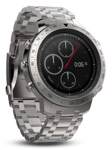 NIB Garmin Fenix Chronos Steel GPS Athlete Watch Brushed Stainless Steel Band