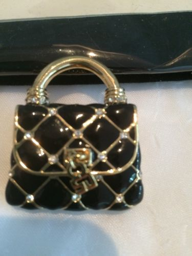 St. John Black and Gold Handbag Pin