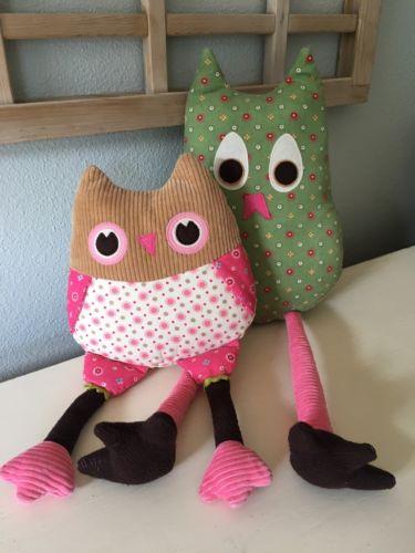Pottery Barn Kids Brooke Owl Set Pillows Joy & Penny Decorative Bedroom Pillows
