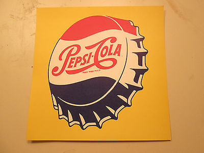 PEPSI COLA 1958 Advertising NOS Sign original bottle cap cardboard