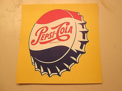 PEPSI COLA 1958 Advertising NOS Sign original bottle cap cardboard