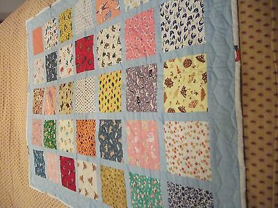 Vintage Baby Quilt, Hand Sewn and Hand Quilted
