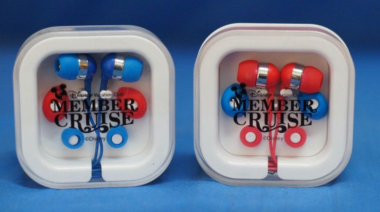 Disney Vacation Club Member Cruise 2014 DVC Both Red & Blue Sets Ear Buds  NEW