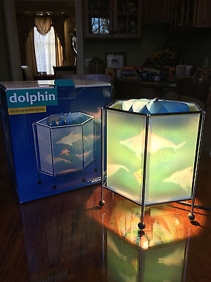 Spinner Motion Dolphin Scene Lamp by Natural Wonders Parchment