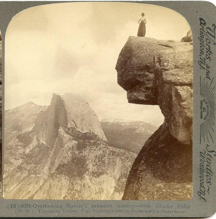 TOURIST OVERLOOKING NATURES GRANDEST SCENERY STEREOVIEW  GLACIER POINT YOSEMITE