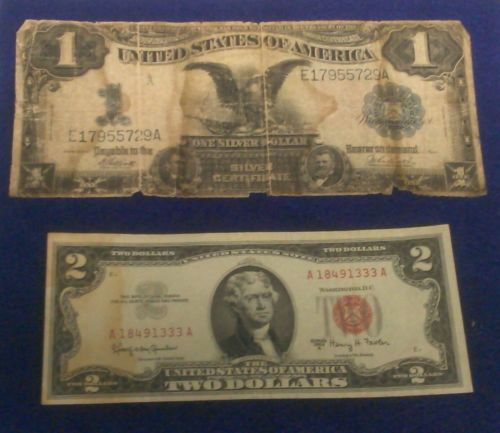 1899 $1 Silver Certificate Black Eagle Bank Note + 1963 A $2 Red Seal Bank Note