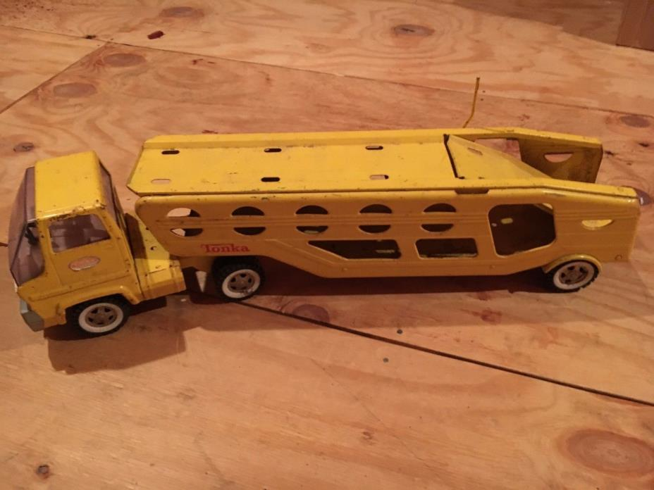 Vintage 1960's Tonka Car Carrier Hauler Yellow Pressed Metal Toy
