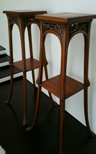 Art nouveau walnut Louis Majorelle plant stands pedestal Jugendstil arts crafts