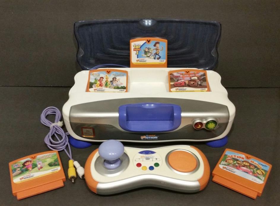 VTECH VSMILE V-MOTION Blue Interactive Learning System 5 Games Controller Lot