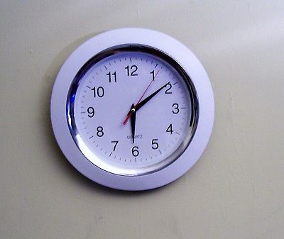 small white wall clock