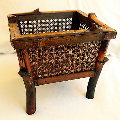Tropical Bamboo Decorative Storage Basket Dark Stain Moroccan Home Organization