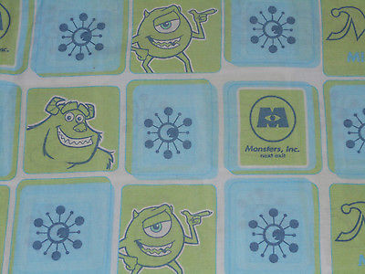 DISNEY MONSTER INC TWIN SIZE FLAT SHEET BED ROOM FABRIC vintage