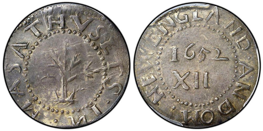 1652 Oak Tree Shilling. PCGS graded XF45.