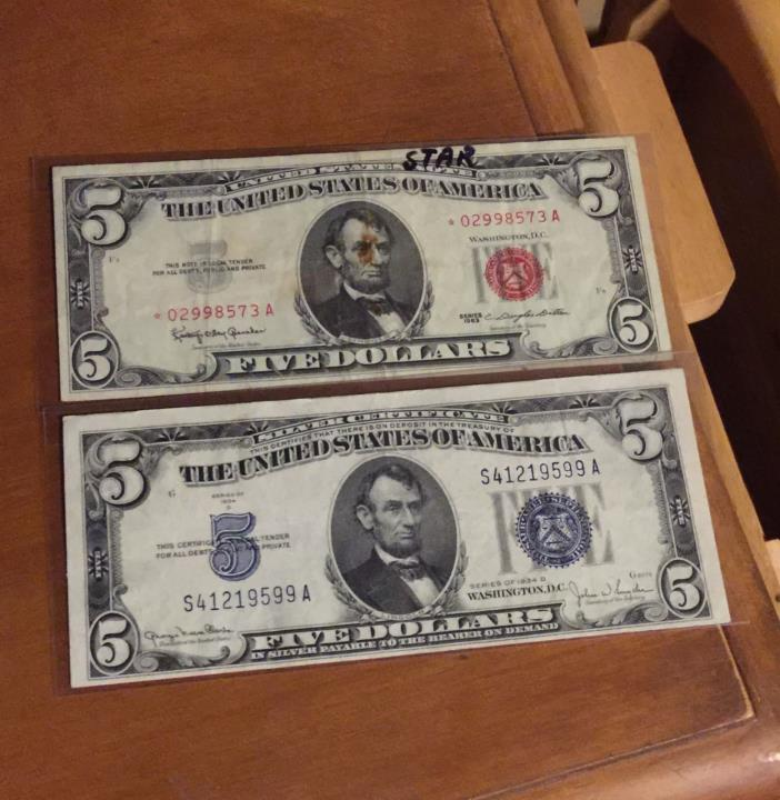 US Currency 1934 D $5 silver certificate 1963 red seal $5 star note lot