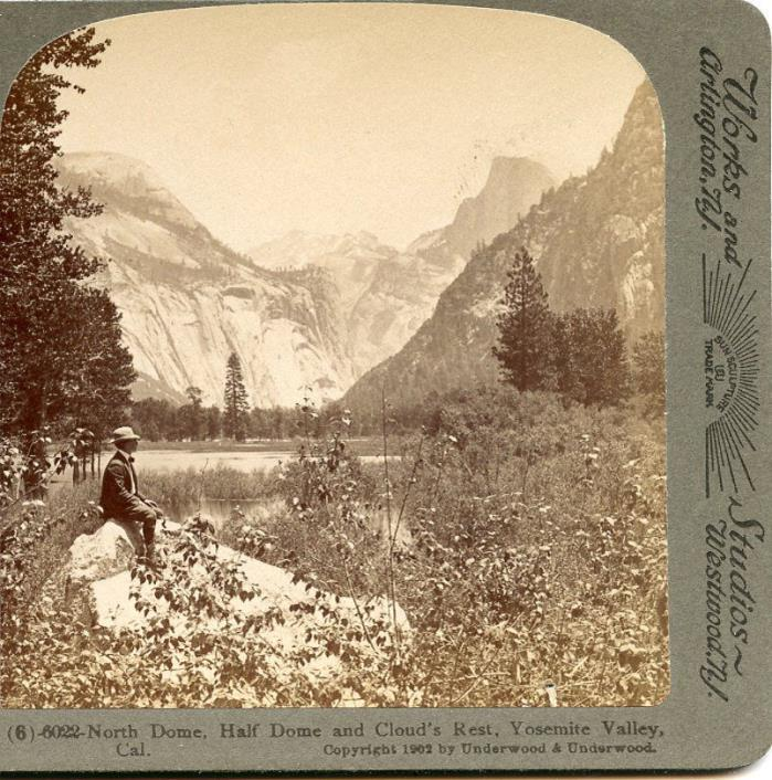 NORTH DOME - HALF DOME & CLOUDS REST YOSEMITE VALLEY CAL STEREOVIEW  TOURIST