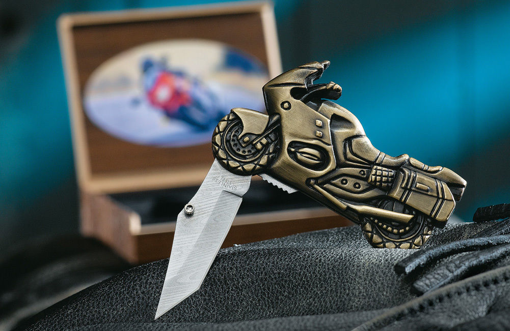 Collectible Novelty Motorcycle Folding Knife with Display Case