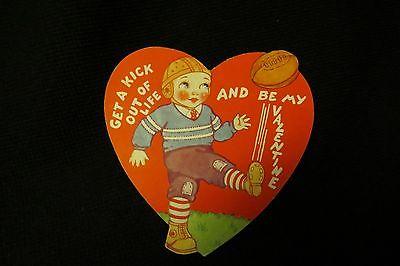 Vintage FOOTBALL Kicker Valentine card c. 1940s